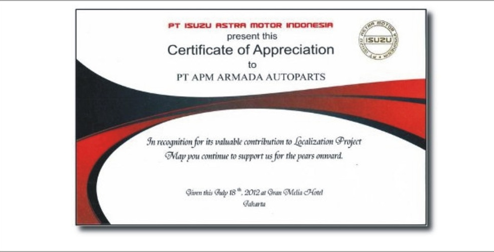 Certificate of Appreciation from Isuzu for Contribution in Localization Project