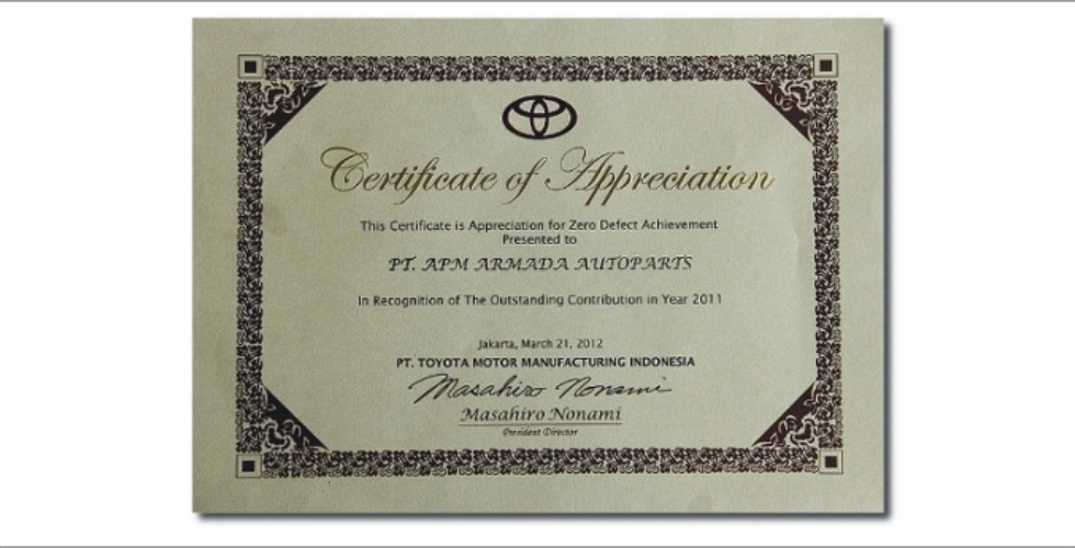 Certificate of Appreciation from Toyota for Zero Defects in 2011